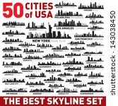 Stock vector super city skyline set vector city silhouettes of usa 143038450