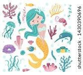 set of cute mermaid  seaweeds...   Shutterstock .eps vector #1430390696