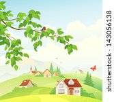 Vector illustration of a beautiful village view and a leafy branch with a bird