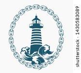 vintage lighthouse emblem drawn ... | Shutterstock .eps vector #1430583089