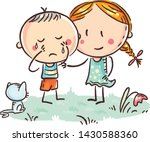 a little boy crying and a girl... | Shutterstock .eps vector #1430588360