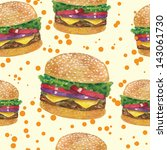 Tasty big burger pattern vector design watercolor hand drawn
