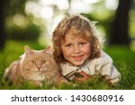 little curly boy with a redhead ... | Shutterstock . vector #1430680916
