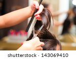 hairdresser do haircut close up ... | Shutterstock . vector #143069410