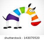 Colored Striped Zebra. Vector