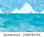 blue sea and a bank of clouds... | Shutterstock . vector #1430781476