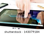 Vector Images, Illustrations and Cliparts: Hand touching on modern digital tablet pc at the workplace. Hqvectors.com