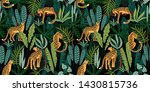 seamless pattern with leopards... | Shutterstock . vector #1430815736
