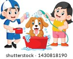 the children are clean his dog... | Shutterstock .eps vector #1430818190