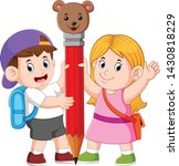 the boy and the girl is holding ...   Shutterstock .eps vector #1430818229