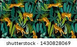 seamless exotic pattern with... | Shutterstock . vector #1430828069