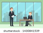 two caucasian managers working... | Shutterstock .eps vector #1430841539