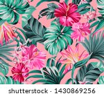 exotic tropical flowers in... | Shutterstock . vector #1430869256