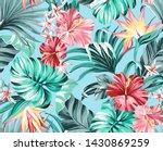 exotic tropical flowers in... | Shutterstock . vector #1430869259