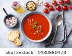 tomato soup with fresh herbs... | Shutterstock . vector #1430880473