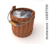 Wooden Bucket Of Water On Whit...
