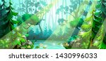 forest scene with deciduous... | Shutterstock .eps vector #1430996033
