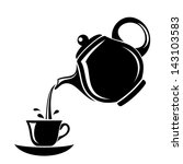 Black Silhouette Of Teapot And...