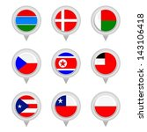 set of map flag icon  vector | Shutterstock .eps vector #143106418