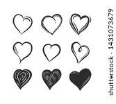 hand drawn hearts vector set | Shutterstock .eps vector #1431073679