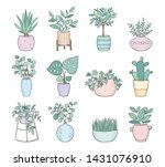 vector set of cute house plants ... | Shutterstock .eps vector #1431076910