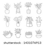 vector set of cute house plants ... | Shutterstock .eps vector #1431076913