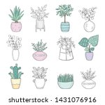 vector set of cute house plants ... | Shutterstock .eps vector #1431076916