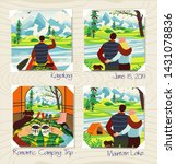 romantic camping trip. man and... | Shutterstock .eps vector #1431078836