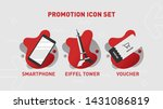 business icons set. red and... | Shutterstock .eps vector #1431086819