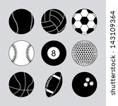 sports balls over gray... | Shutterstock .eps vector #143109364