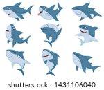 Cartoon Sharks. Comic Shark...