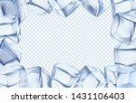 Ice cubes frame. Chill border, icy cold cube and iced rectangular frame. Arctic iced cubes, cool icy water crystal pieces for alcohol drink isolated realistic vector illustration