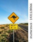 an iconic kangaroo road sign... | Shutterstock . vector #1431128066