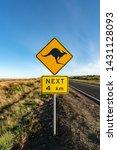 an iconic kangaroo road sign... | Shutterstock . vector #1431128093