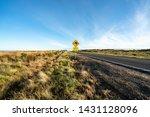 an iconic kangaroo road sign... | Shutterstock . vector #1431128096