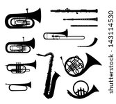 Music instruments vector set. Musical instrument silhouette on white background.