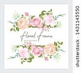 floral frame wedding invitation ...   Shutterstock .eps vector #1431145550