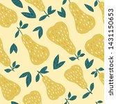 tasty pears seamless pattern on ... | Shutterstock . vector #1431150653