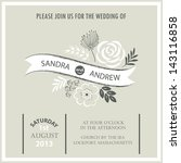 vintage wedding invitation card. | Shutterstock .eps vector #143116858