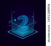 3d futuristic blue line number vector on square platform, shiny isometric count down illustration light stage, e-commerce sale promotion, technology digital typography of two 2 symbol