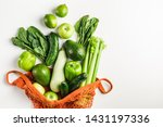 Green Vegetables And Fruits In...