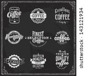 set of coffee shop sketches and ... | Shutterstock .eps vector #143121934