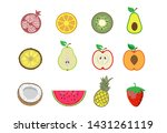 set of fruit in cut and whole....   Shutterstock .eps vector #1431261119