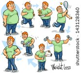 man before and after weight... | Shutterstock .eps vector #143128360