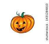 cartoon halloween pumpkin with... | Shutterstock . vector #1431284810