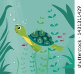 Stock vector cartoon turtle funny character swimming the vector illustration on the underwater background 1431311429