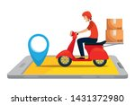 worker of delivery service in... | Shutterstock .eps vector #1431372980