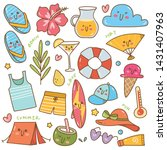 set of summer related object in ... | Shutterstock . vector #1431407963