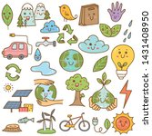 set of ecology doodle in kawaii ... | Shutterstock . vector #1431408950