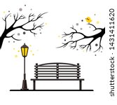 vector black bench with a light ... | Shutterstock .eps vector #1431411620